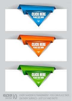 Étiquettes en papier en papier origami arrow