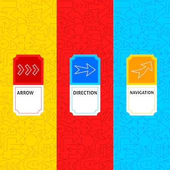 Étiquettes de paquet de flèche de ligne. illustration vectorielle de la conception de contour.