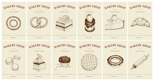 Étiquettes avec pâtisseries et desserts. définir les étiquettes de prix des modèles pour boulangerie
