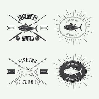 Etiquettes de pêche, logo, badge