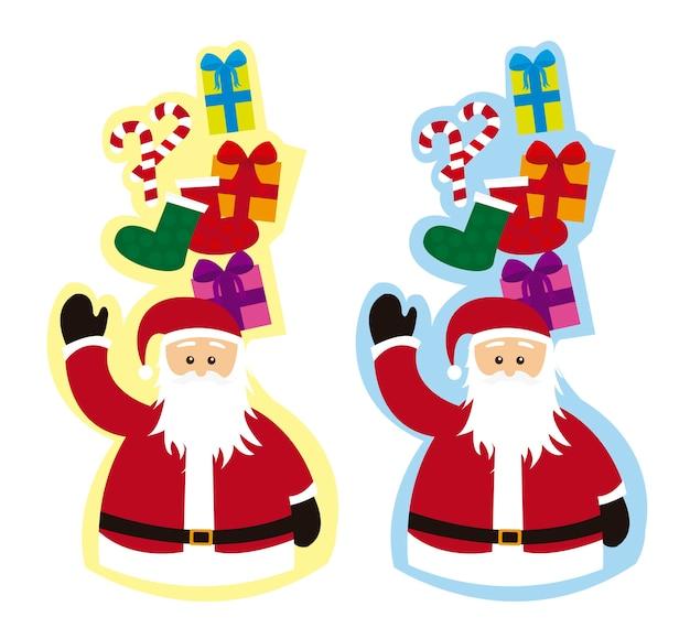 Étiquettes de père noël avec des cadeaux et des bonbons vecteur isolé