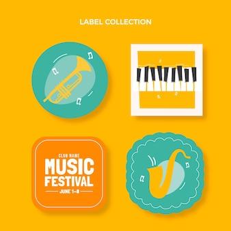 Étiquettes plates de festival de musique minimal