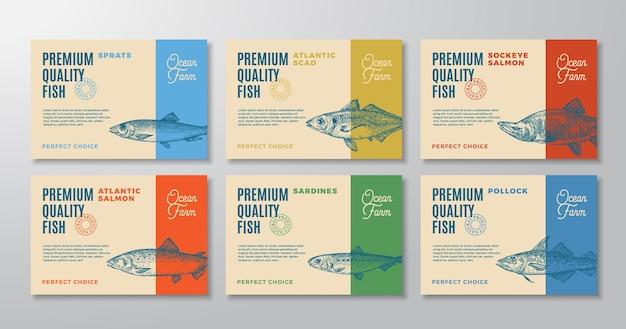 Les étiquettes de poisson définissent des mises en page de conception d'emballages vectoriels abstraits collection typographie moderne et dessinés à la main...