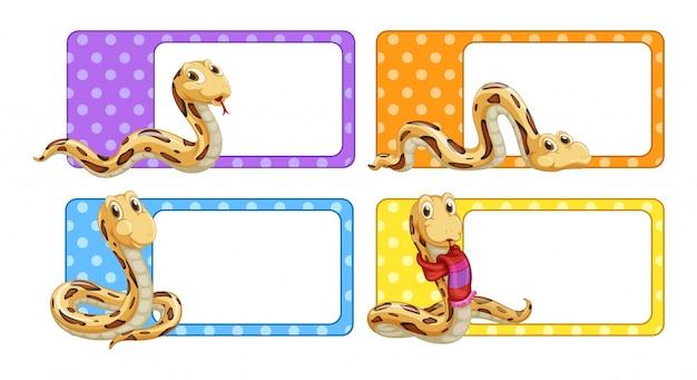 Étiquettes polkadot avec illustration de serpents