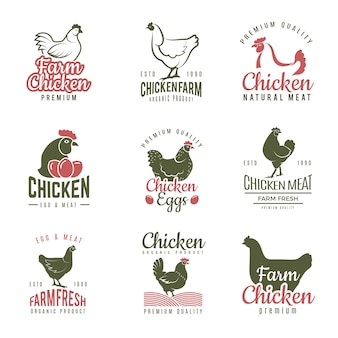 Étiquettes de pollo. badges de logotypes de poulet de restauration rapide modèle de viande d'oiseau de ferme