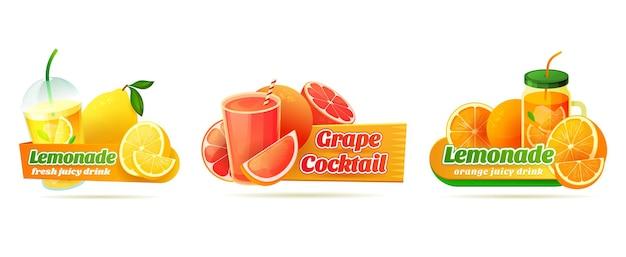 Étiquettes pour boissons rafraîchissantes aux agrumes ou aux fruits