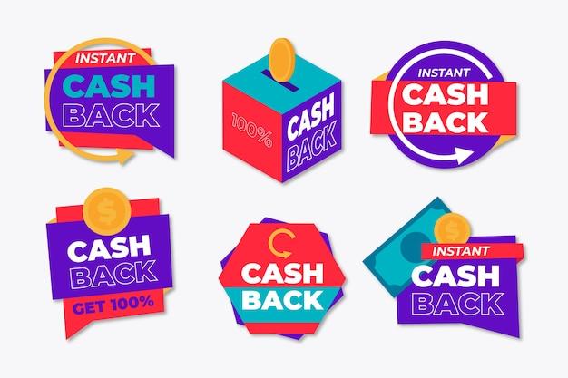 Étiquettes pour le concept de cashback