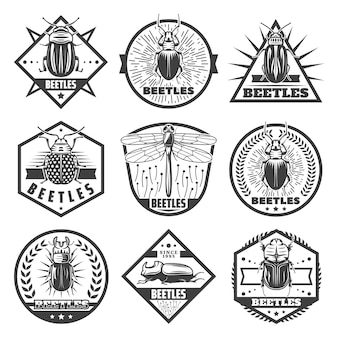 Étiquettes premium coléoptères monochromes vintage sertie d'inscriptions libellule et différents types de bugs isolés