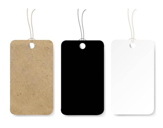 Étiquettes de prix colorées sur fond blanc avec filet de dégradé, illustration vectorielle