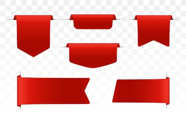 Étiquettes de prix, étiquettes ou badges vierges rouges. bannières de ruban pour publicité. bannières