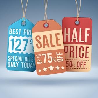 Étiquettes de prix suspendus vintage ou étiquettes de vente. vecteur étiquette de promotion shopping et tag, moitié prix et concept d'illustration offre spéciale