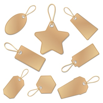 Étiquettes de prix vierges en papier brun vintage