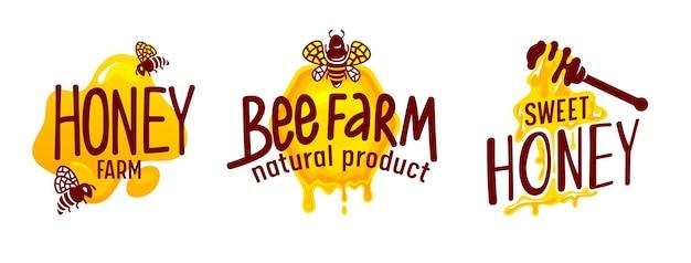 Étiquettes de production de miel naturel ou icons set isolé sur fond blanc. abeilles volant autour du produit écologique d'apiculture douce. collection d'étiquettes ou d'autocollants pour la conception de colis. illustration vectorielle de dessin animé