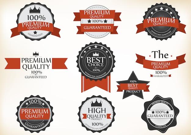 étiquettes de qualité et de garantie premium