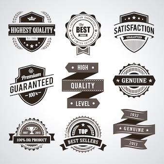 Étiquettes de qualité premium vintage