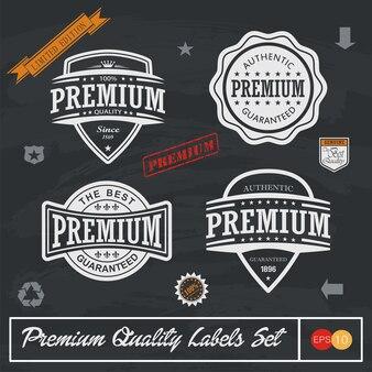 Étiquettes de qualité supérieure, de garantie et de satisfaction et typographie