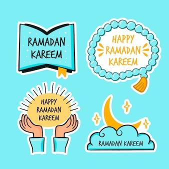 Étiquettes de ramadan style dessinés à la main