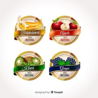 Étiquettes réalistes d'aliments biologiques