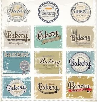 Etiquettes rétro de boulangerie