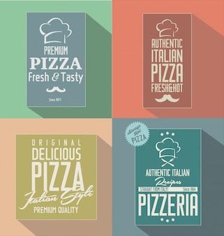 Étiquettes rétro pizza