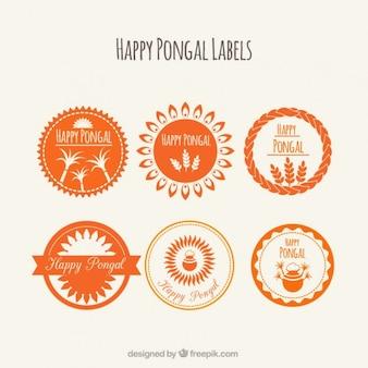 Étiquettes rond orange pongal