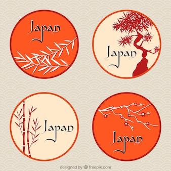 Étiquettes rondes japonaises avec des thèmes floraux