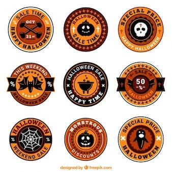 Étiquettes rondes pour halloween