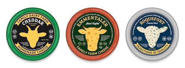 Étiquettes rondes de style moderne de fromage de vecteur