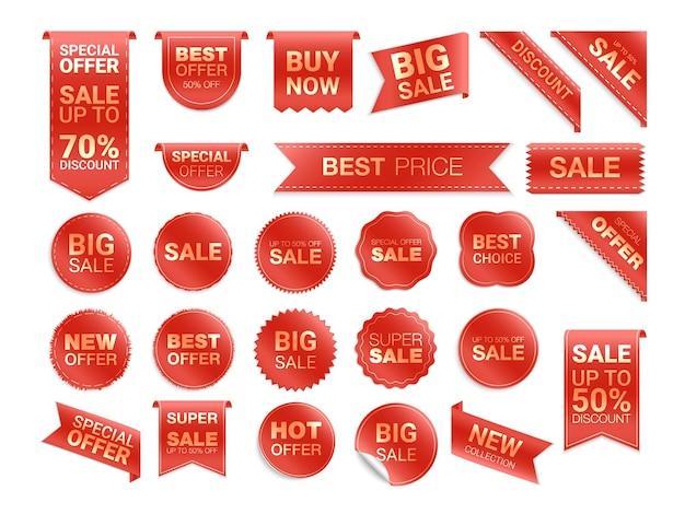 Étiquettes rouges isolées. promotion de vente. remise de badges plats et étiquettes.