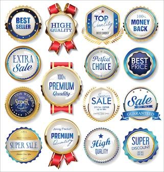 Étiquettes et rubans de badges vintage rétro or et bleu