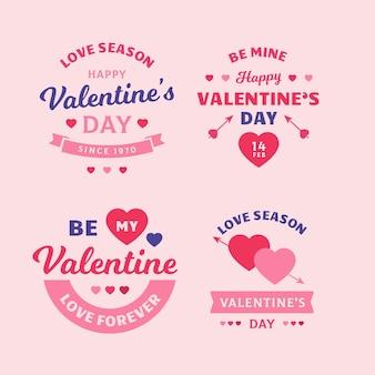 Étiquettes de la saint-valentin design plat
