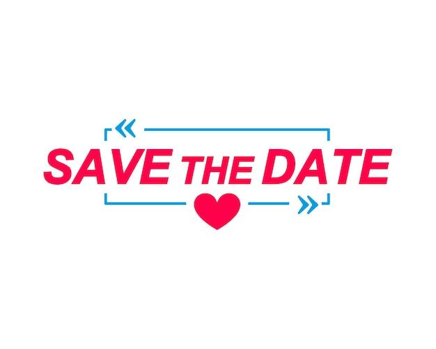 Étiquettes save the date bulles de dialogue avec icône de coeur autocollant publicitaire et marketing