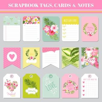Étiquettes de scrapbooking, cartes et notes - pour anniversaire, fête de naissance, fête, design