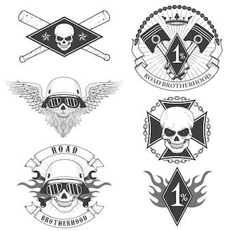 Étiquettes skull biker
