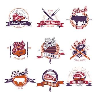 Étiquettes de steak grillé chaud