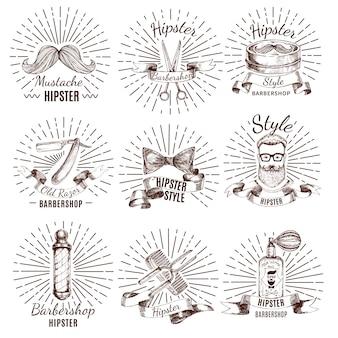 Étiquettes de style barbershop hipster