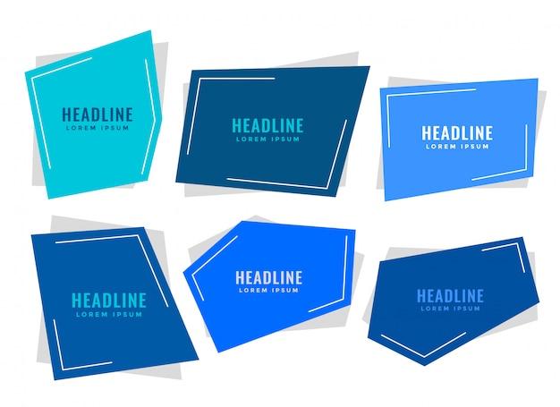 Étiquettes de style de papier bleu avec espace de texte