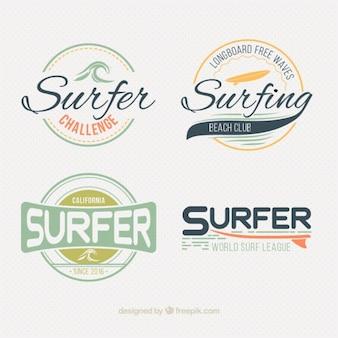 Étiquettes de surf style pack