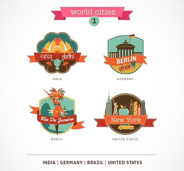 Étiquettes et symboles des villes du monde - delhi, berlin, rio, new york