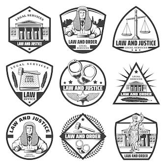 Étiquettes de système judiciaire monochrome vintage sertie de menottes de palais de justice échelles marteau droit livre themis statue plume juge isolé