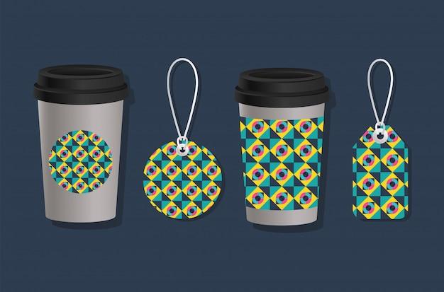 Étiquettes et tasses à café à couvercle géométrique
