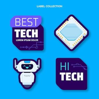 Étiquettes de technologie minimale de conception plate
