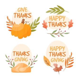 Étiquettes de thanksgiving dessinées à la main