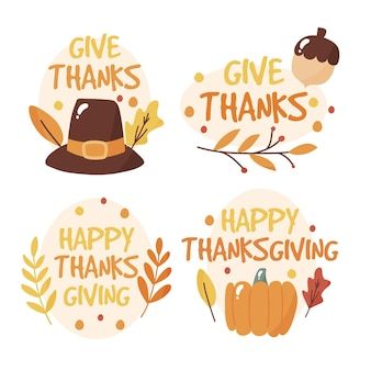 Étiquettes de thanksgiving de style dessiné à la main