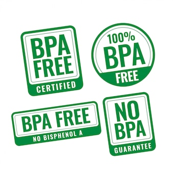 Étiquettes de timbres portant des insignes de bisphénol-a et de phtalates sans bpa