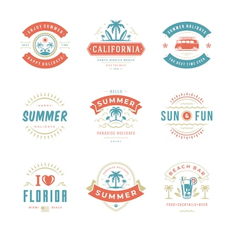 Étiquettes de vacances d'été et badges ensemble de conception de typographie rétro.