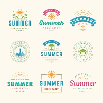 Étiquettes de vacances d'été et badges ensemble de conception de typographie rétro