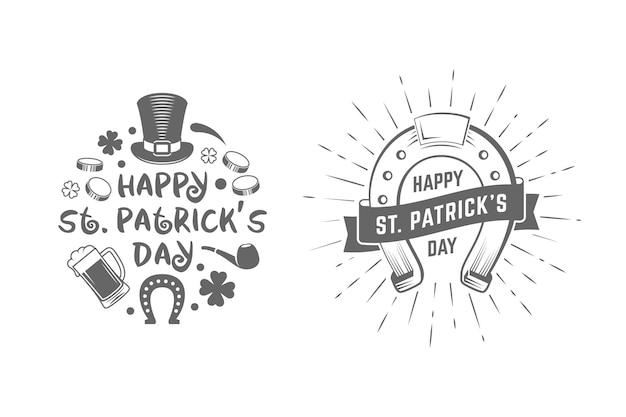 Étiquettes De Vacances Vintage Insignes Saint Patricks Day Vecteur Premium