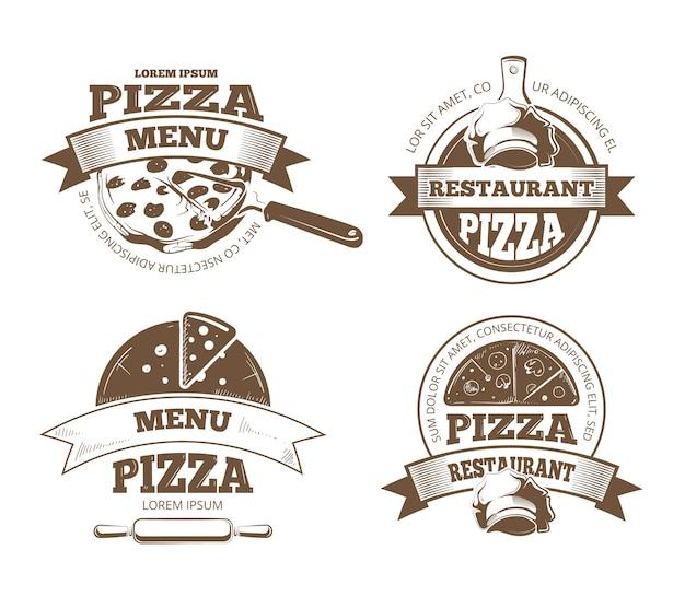 Étiquettes de vecteur pizzeria rétro, logos, insignes, emblèmes avec des icônes de la pizza. pizzeria logo restaurant et