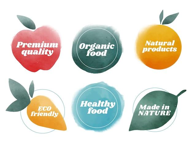 Étiquettes végétariennes aquarelles